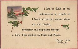 Worth MISSOURI Commercial Christmas Greetings Henry Zipin 1916