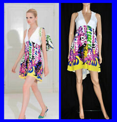 Resort 2012 look #14 NEW VERSACE FLORAL PRINTED SILK DRESS with BAG 38 - 2