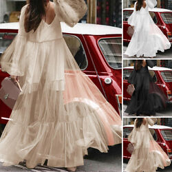 Womens Spring Lace Dress Long Sleeve Mesh Swing Holiday Party Dresses Oversized $16.23