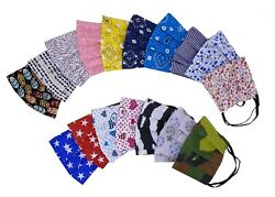 Handmade Cotton Face Mask with Nose Wire filter pocket Fabric mask Reusable USA $8.40