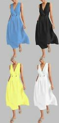 Dress Long Dresses Boho Party Cocktail Women#x27;s Solid Sleeveless Evening Summer $23.16