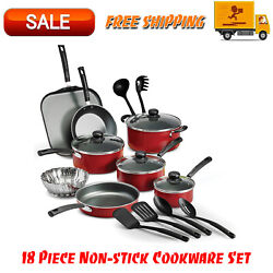 Primaware 18 Piece Non-stick Cookware Set, Kitchen Home, Pots & Pans Set, Red $46.95