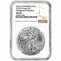 2020 (P) $1 American Silver Eagle NGC MS69 Emergency Production Brown Label $69.00