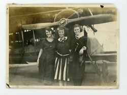 Vintage photo girls posing by airplane Vintage snapshot plane photo $9.99