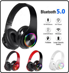 LED Bluetooth Gameing Headset TWS Wireless Earphones Stereo Headphones With Mic  $23.95