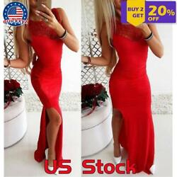 Women Sleeveless Split Bodycon Lace Evening Sexy Party Cocktail Long Maxi Dress $16.19