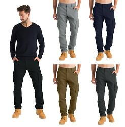 Mens Cargo Combat Work Trousers Chino Cotton 6 pocket full Pant size 32 44 $24.99