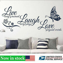 Home Decor Live Laugh Love Quotes Butterfly Wall Art Stickers Living Room Decal $8.36