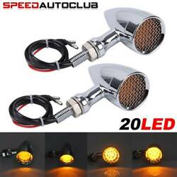 Chrome Motorcycle Grill Bullet LED Turn Signal Lights Indicator Lamps For Harley $23.70