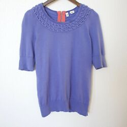 ANTHROPOLOGIE MOTH Periwinkle Blue Knit Top Short Puff Sleeve Size Medium