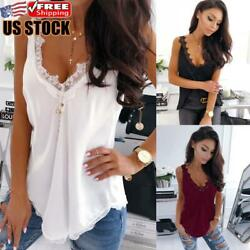 Women Sexy Lace Vest Tank Tops Cami Camisole Summer Sleeveless Top Blouse Shirt $12.72