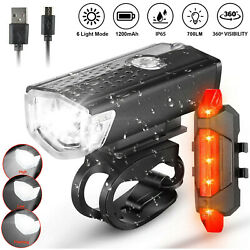 USB Rechargeable LED Bicycle Headlight Bike Head Light Front Rear Lamp Cycling $9.98
