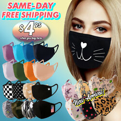 Face Mask Cotton Double Layer Reusable Washable Fashion Printed Mask Unisex $6.99