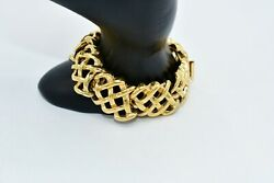Givenchy Vintage Signed Bracelet Linked Woven Gold Chain Runway Rare 6.5 BinD $87.38
