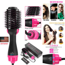 Hot Air Hair Dryer Negative Ion 4in1 One Step Styling Blower Brush Straight Curl $32.99