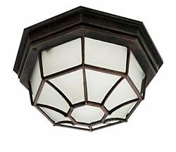 Outdoor Ceiling Light Fixture Flush Mount Porch Rust Metal Glass Frosted Lantern