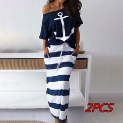 Fashion Women Casual Anchor Print Off Shoulder T Shirt amp; Striped Maxi Skirt Sets $30.04