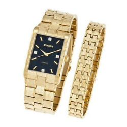 Elgin Men#x27;s Watch and Matching Bracelet Brushed Gold Black Dial $59.99