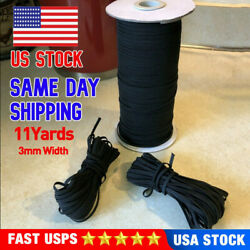 """Black Round Elastic 1/8"""" inch 3mm 11 Yards For Face Mask DIY Free Shipping USA $4.69"""