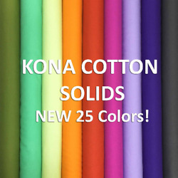 ROBERT KAUFMAN quot;KONA COTTON SOLIDquot; NEW 25 COLORS 2019 by the 1 2 yard $3.40