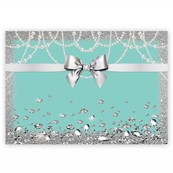 Breakfast Bowknot Co Blue Backdrop Turquoise Bow Birthday Photography Banner $20.68