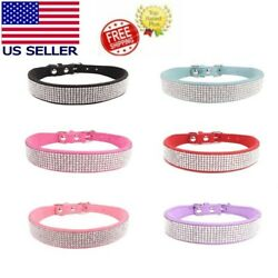 Pet Dog Bling Rhinestone Sequins Collar Necklace Small Dog Cat PU Leather Collar $7.99