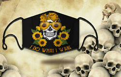 Skull Sunflowers Lover I Do What I Want Comfortable Protective Face Mask / Washa $40.50