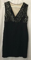 Ronni Nicole Black Ruffled Dress with See thru net top Size 8  Lined Stretch