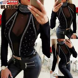 Women#x27;s High Neck Mesh Sheer Long Sleeve T Shirt Ladies Casual Slim Blouse Tops $19.09
