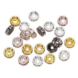 50pcs Rhinestone Rondelles Crystal Loose Spacer Beads for DIY Jewelry Making $1.48