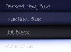Fabric 100% Cotton Solid Black Navy Blue or White Material By the Yard $5.95