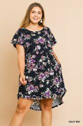 Umgee Floral Print Short Ruffle Sleeve Round Neck High Low Fishtail Ruffle Hem $42.95