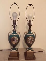 """PAIR OF FRENCH REPRODUCTION LAMPS 4 1 2"""" WIDE X 24 1 2"""" TALL $50.00"""