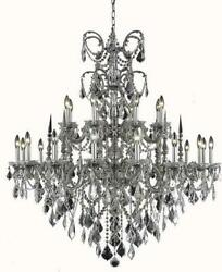 ATHENA CHANDELIER TRADITIONAL ANTIQUE 24-LIGHT PEWTER CLEAR CRYSTAL TEX