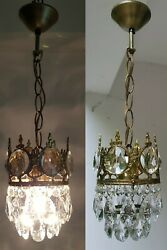 Matching Pair of Antique Vintage Brass amp; Crystals French Small Chandelier Lamp GBP 275.00