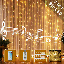 300LED Curtain Fairy Hanging Smart Music String Lights Home Wedding Party 12Mode $14.97