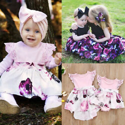 Newborn Kids Baby Girl Lace Floral Romper Skirt Dress Princess Party Outfits Set $10.99