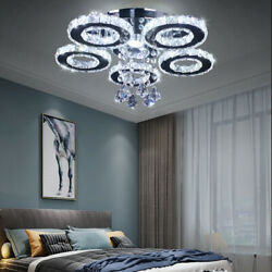Crystal LED Ceiling Light Flush Mount 5 Rings Modern Chandelier Lighting $79.88
