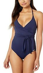 Vince Camuto Surf Shades V Neck Wrap Tie One Piece Deep Sea Women#x27;s Swimsuits 10 $116.00