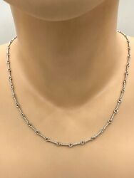 "Fancy 14k White Gold Wheat Links Chain Necklace 16"" 6.4 Grams $299.00"