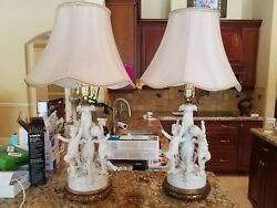 PAIR OF SUPERB BLANC DE CHINE PUTTI LAMPS W EXPENSIVE CUSTOM SHADES $599.99