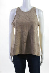 BCBGMAXAZRIA Womens Sleeveless Perforated Leather Blouse Brown Size Small $25.01