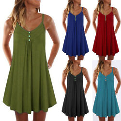 Womens Summer Tunic Dress A Line Casual Plus Size Strape Mini Beach Sundress US $10.37