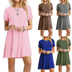 Womens Summer Tunic T Shirt Dress Short Sleeve A Line Solid Short Beach Sundress $8.29