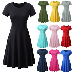 Womens Summer T Shirt Dress A Line High Waist Tunic Casual Evening Party Dress $13.32