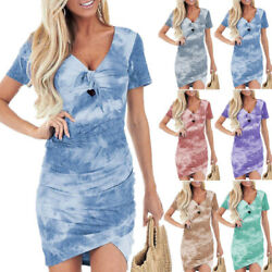 Womens Short Sleeve T Shirt Dress Casual Bodycon Cocktail Party Boho Mini Dress $12.74
