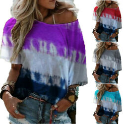 Summer Womens Casual Size Plus T Shirt Short Sleeve Word Shoulder Tops Blouse $10.88