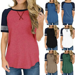 Womens Summer Short Sleeve T-Shirts Tops Solid Striped Cotton Casual Blouse Tee $10.24
