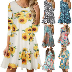 Women Boho A Line Floral Crew Neck Mini Dress Short Sleeve Casual Beach Sundress $12.29
