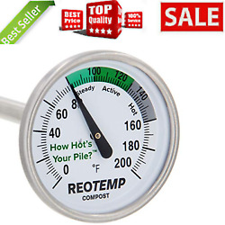 Backyard Compost Thermometer 20quot; Stem with PDF Composting Guide Fahrenheit New $29.35